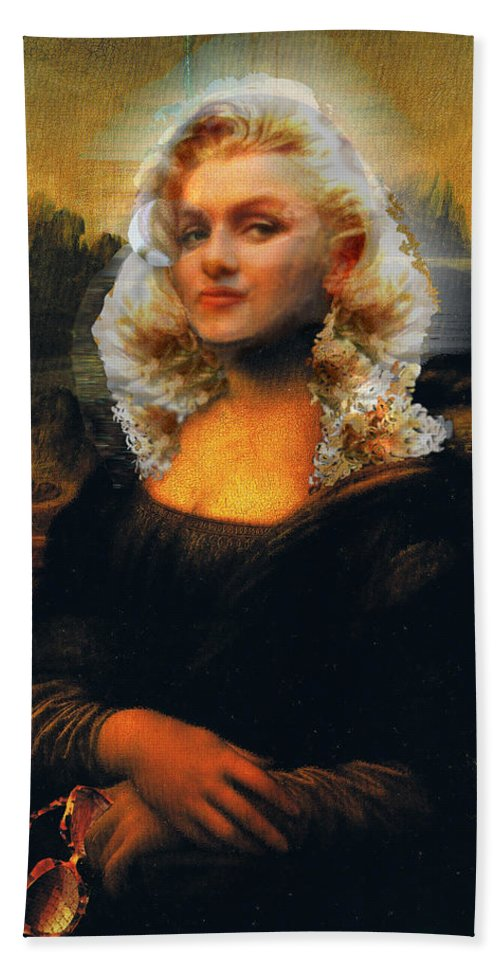 Mona Lisa Hand Towel featuring the digital art Mona Marilyn by Seth Weaver