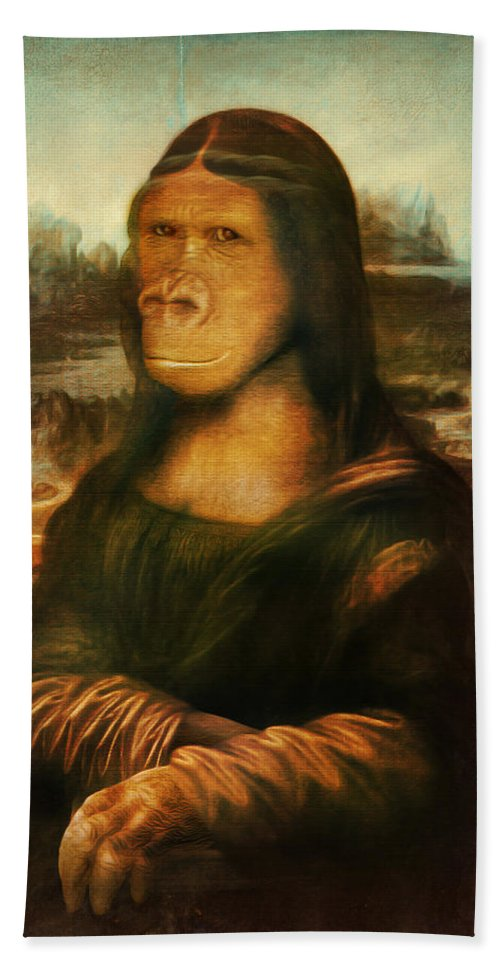 Primate Hand Towel featuring the painting Mona Rilla by Gravityx9 Designs