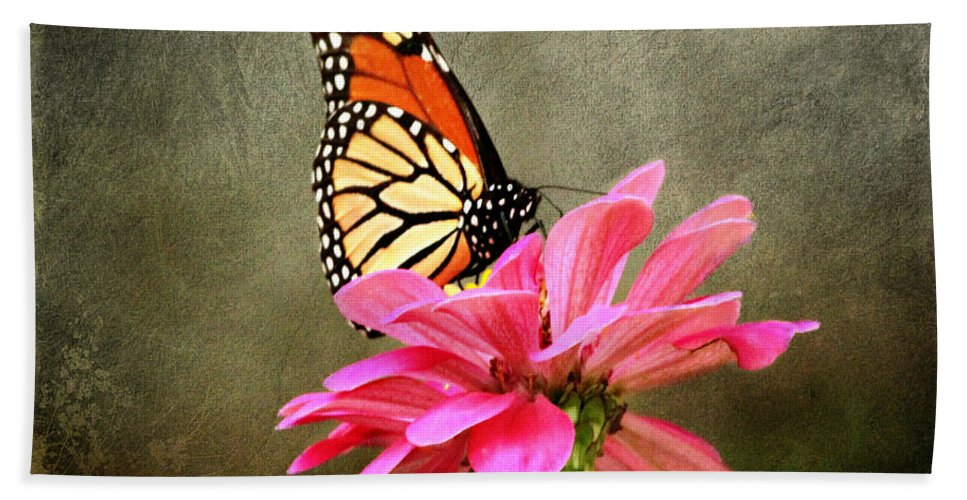 Butterfly Hand Towel featuring the photograph Monarch Butterfly And Pink Zinnia by Judy Palkimas