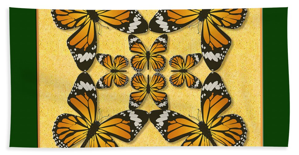 Butterfly Bath Sheet featuring the photograph Monarch Butterfly Pin Wheel by Melissa A Benson