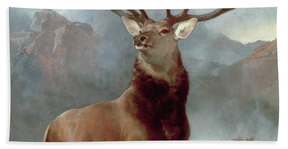 Monarch Bath Towel featuring the painting Monarch of the Glen by Sir Edwin Landseer