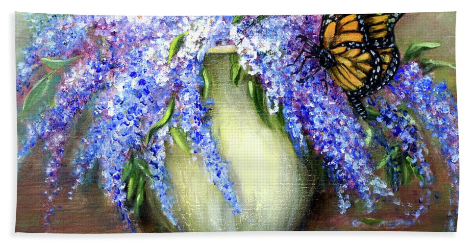 Lilacs Hand Towel featuring the painting Monarch Of The Lilacs by Loretta Luglio