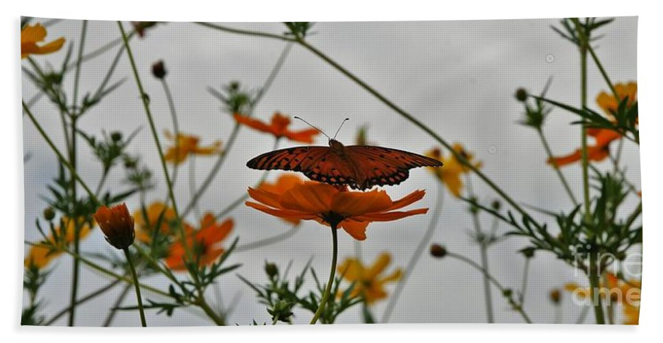 Monarch Butterflies Bath Towel featuring the photograph Monarch on the River by Leon Hollins III