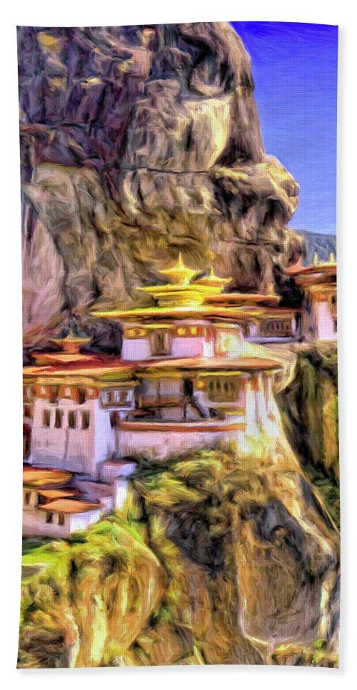 Monastery In Bhutan Hand Towel featuring the painting Monastery In Bhutan by Dominic Piperata
