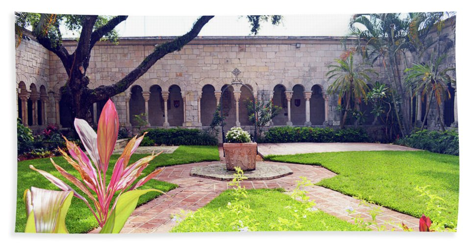 Miami Bath Sheet featuring the photograph Monastery Of St. Bernard De Clairvaux Garden by Ken Figurski