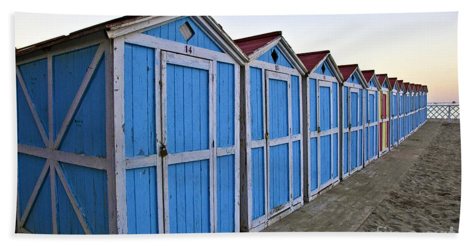 Mondello Bath Sheet featuring the photograph Mondello Beach Cabanas by Madeline Ellis