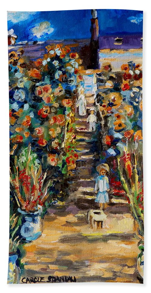 Monet Hand Towel featuring the painting Monets Flower Garden by Carole Spandau