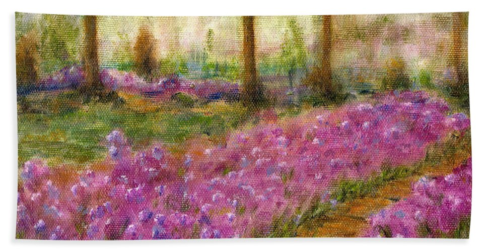 Monet Bath Towel featuring the painting Monet's Garden In Cannes by Jerome Stumphauzer