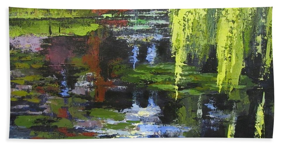 Garden Bath Sheet featuring the painting Monets Garden Painting Palette Knife by Chris Hobel