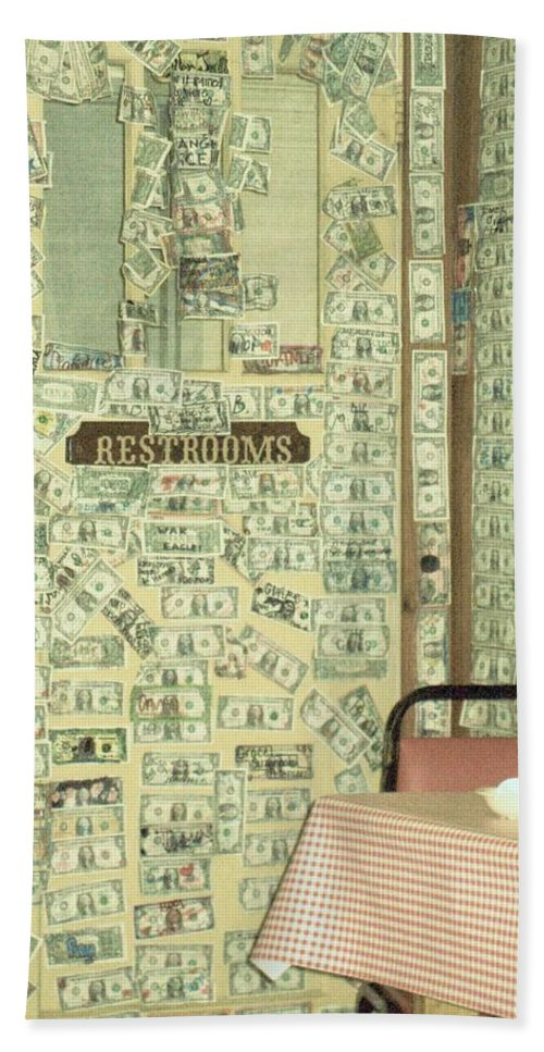 Restroom Pictures Bath Sheet featuring the photograph Money Restrooms by Donna Wilson