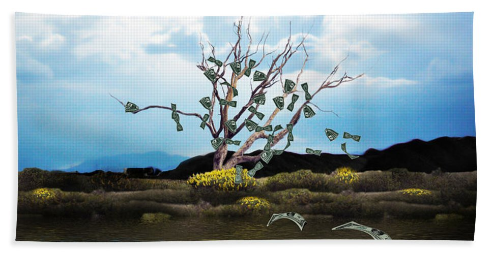 Money Tree Hand Towel featuring the photograph Money Tree On A Windy Day by Gravityx9  Designs