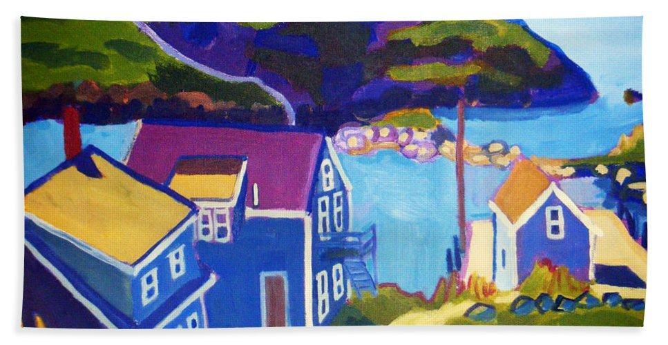 Seascape Bath Towel featuring the painting Monhegan Harbor by Debra Bretton Robinson