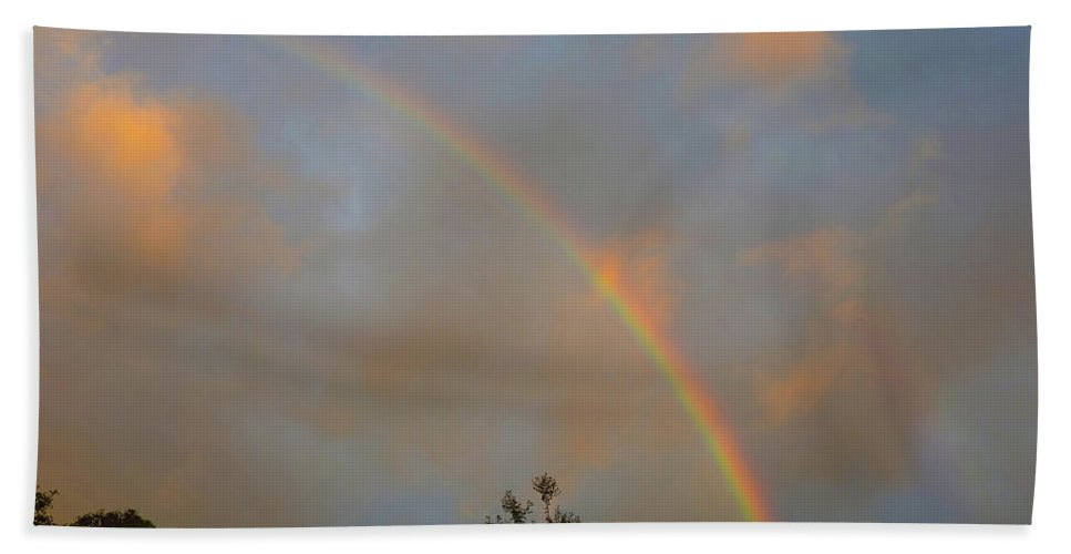 Rainbow Bath Sheet featuring the photograph Morning Bow by Mark Blauhoefer