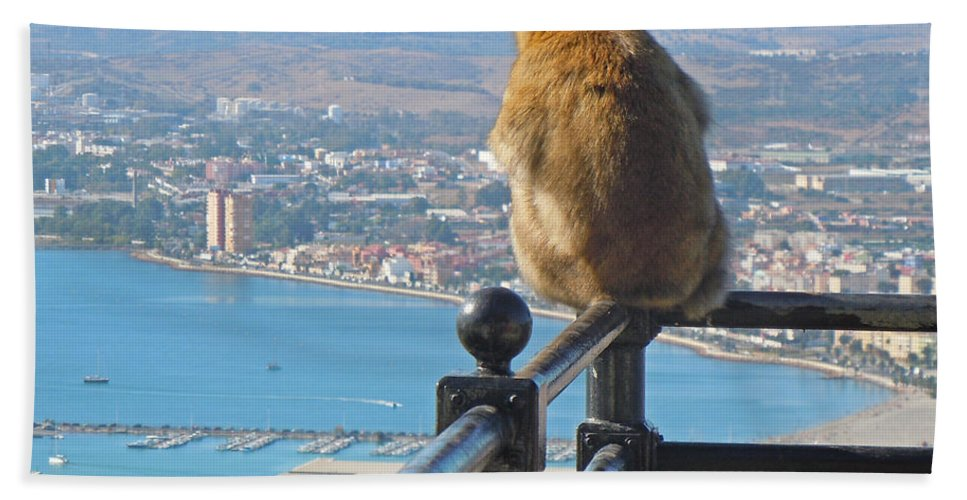 Europe Bath Sheet featuring the photograph Monkey Overlooking Spain by Heather Coen