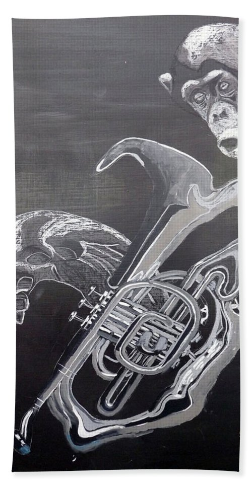 Tuba Bath Sheet featuring the painting Monkey Playing Tuba by Richard Le Page
