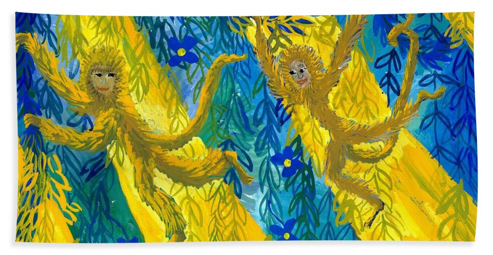 Monkeys Hand Towel featuring the painting Monkeys And Sunbeams by Sushila Burgess