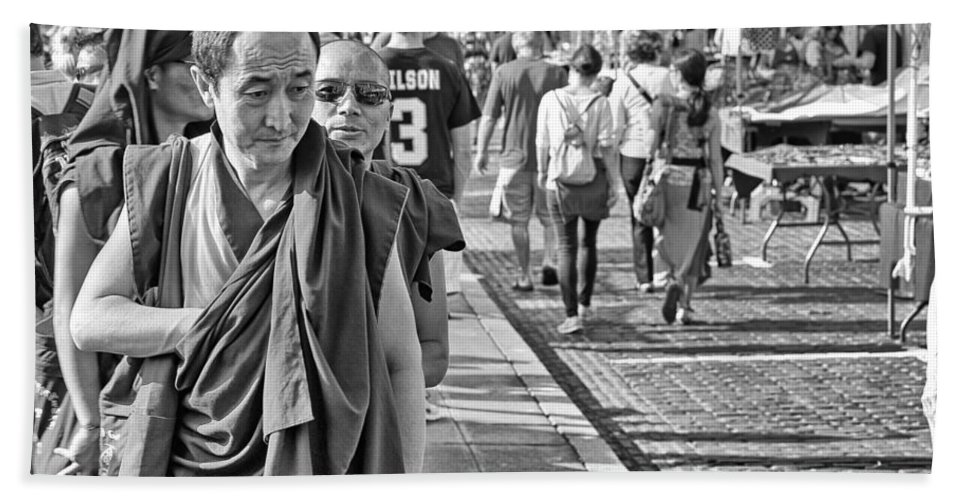 Monk Bath Sheet featuring the photograph Monks Out And About by Paul Fell