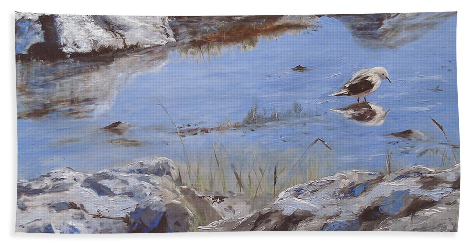 Animal Bath Towel featuring the painting Mono Lake by Barbara Andolsek