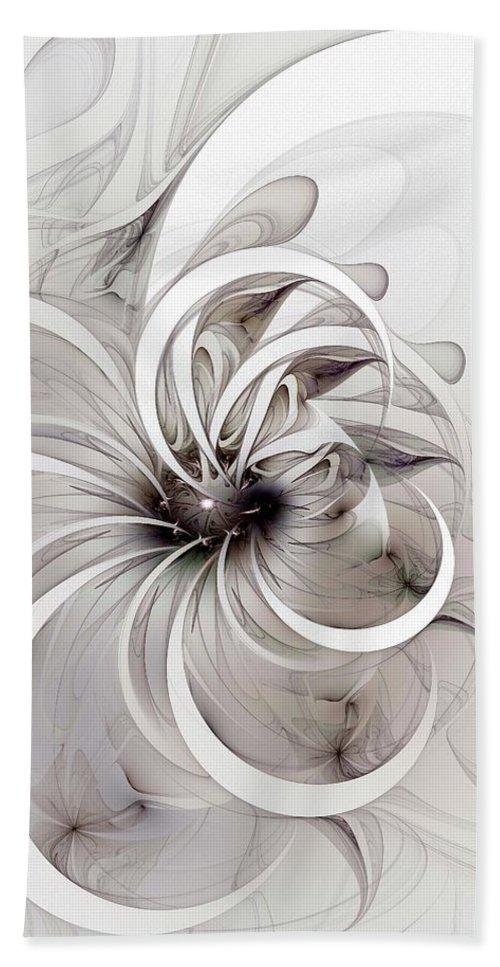 Digital Art Hand Towel featuring the digital art Monochrome Flower by Amanda Moore