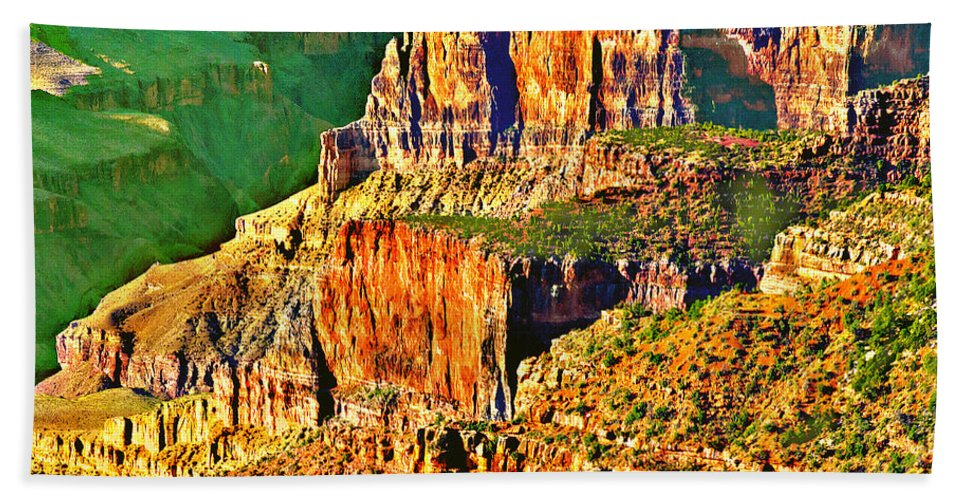 Adventure Hand Towel featuring the painting Monolith North Rim Grand Canyon by Bob and Nadine Johnston