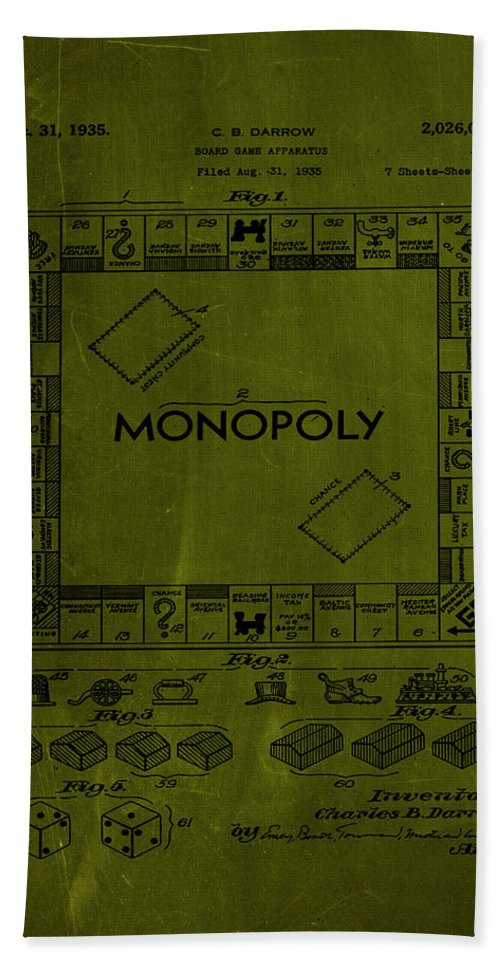 Patent Bath Towel featuring the mixed media Monopoly Board Game Patent Drawing 1a by Brian Reaves