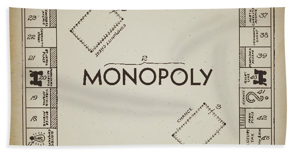 Terry Deluco Hand Towel featuring the photograph Monopoly Board Patent Vintage by Terry DeLuco