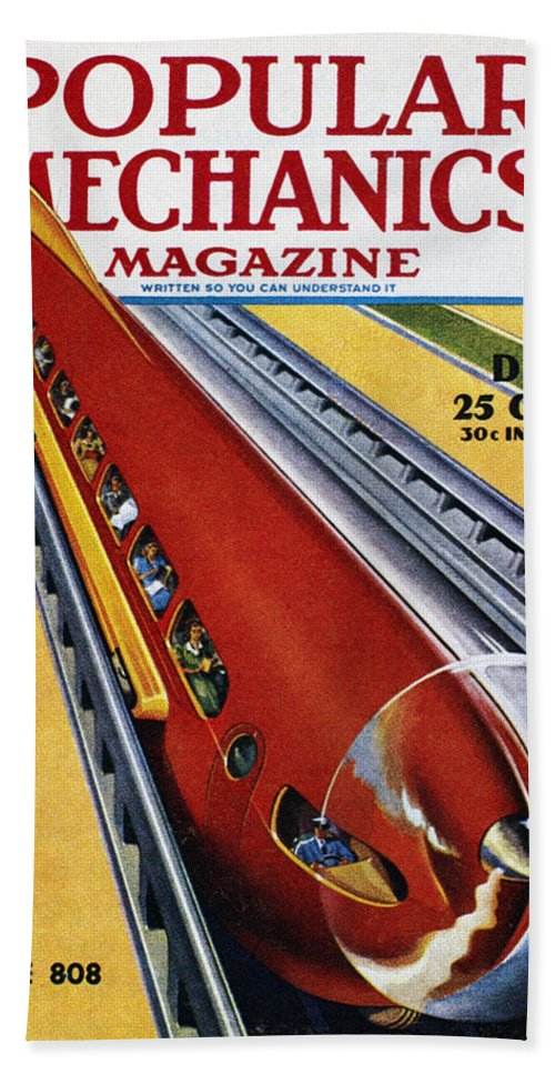 1940 Bath Sheet featuring the photograph Monorail, C1940 by Granger