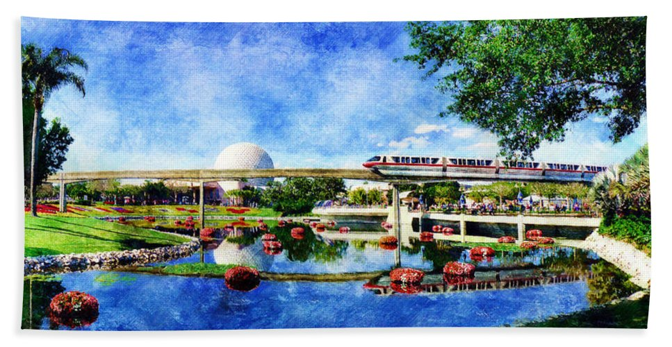 Epcot Hand Towel featuring the digital art Monorail Red - Coming 'Round the Bend by Sandy MacGowan