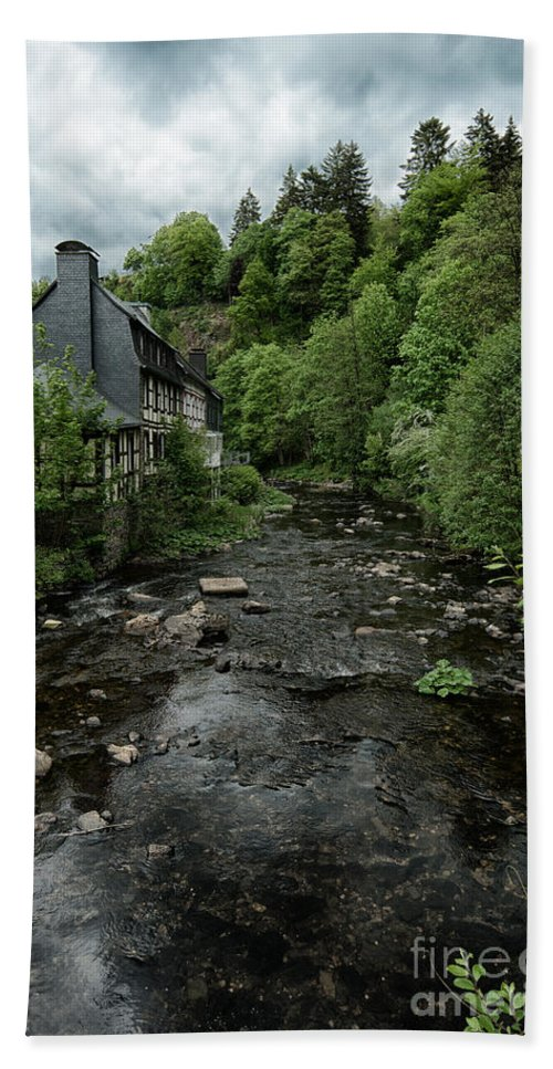 Monschau Germany Hand Towel featuring the photograph Monschau River Scene by Brothers Beerens