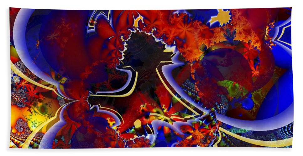 Fractal Hand Towel featuring the digital art Montage In Reds And Blues by Ron Bissett