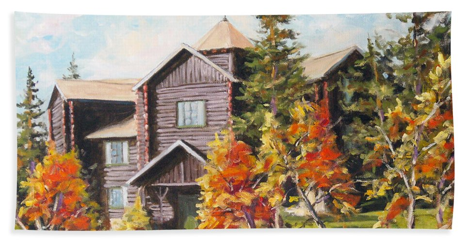 Landscape Bath Towel featuring the painting Montebello by Richard T Pranke