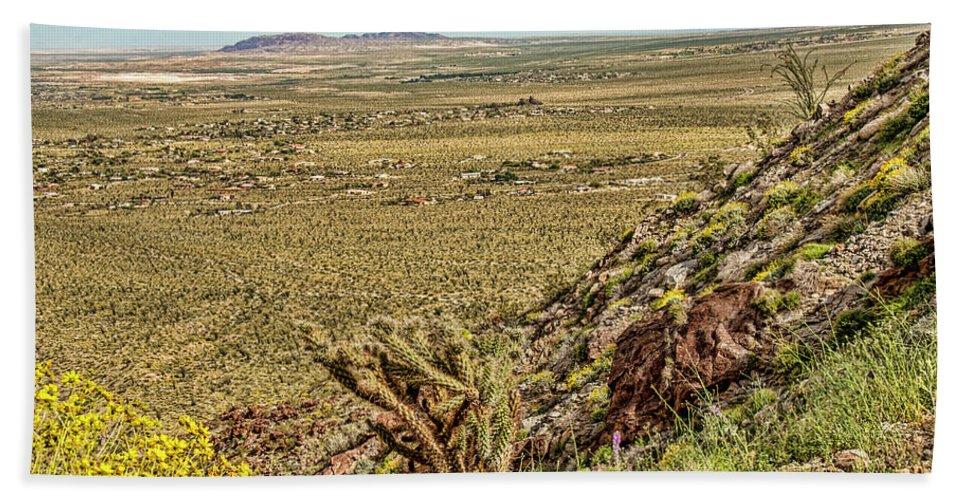 Desert Flowers Bath Sheet featuring the photograph Montezuma Rd-borrego Occitillo Wells View by Daniel Hebard