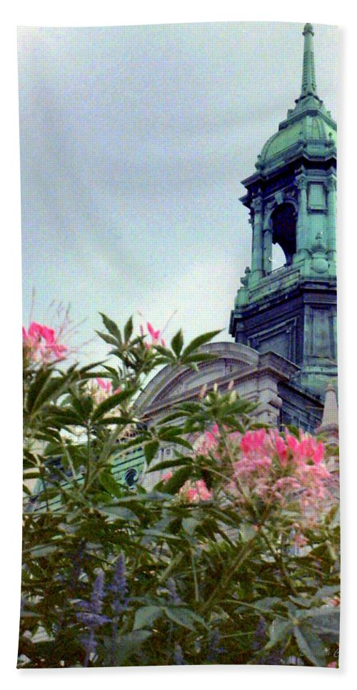 Flowers Hand Towel featuring the photograph Montreal Bldg Among Flowers by Deborah Crew-Johnson