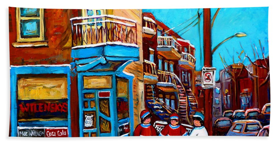 Montreal Bath Towel featuring the painting Montreal City Scene Hockey At Wilenskys by Carole Spandau