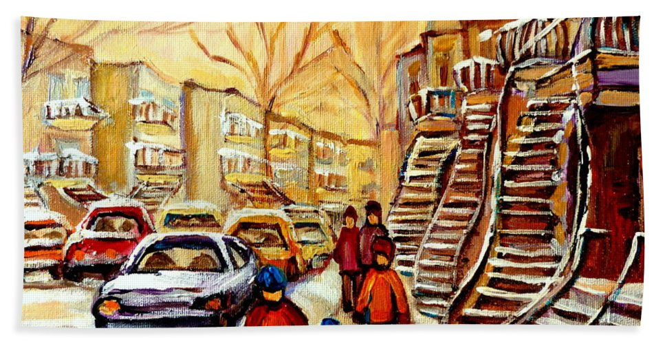 Montreal Bath Towel featuring the painting Montreal City Scene In Winter by Carole Spandau
