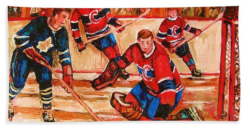 Montreal Forum Hockey Bath Towel featuring the painting Montreal Forum Hockey Game by Carole Spandau