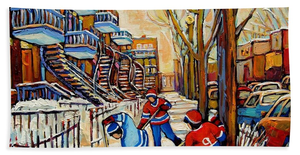 Montreal Hockey Game With 3 Boys Bath Sheet featuring the painting Montreal Hockey Game With 3 Boys by Carole Spandau