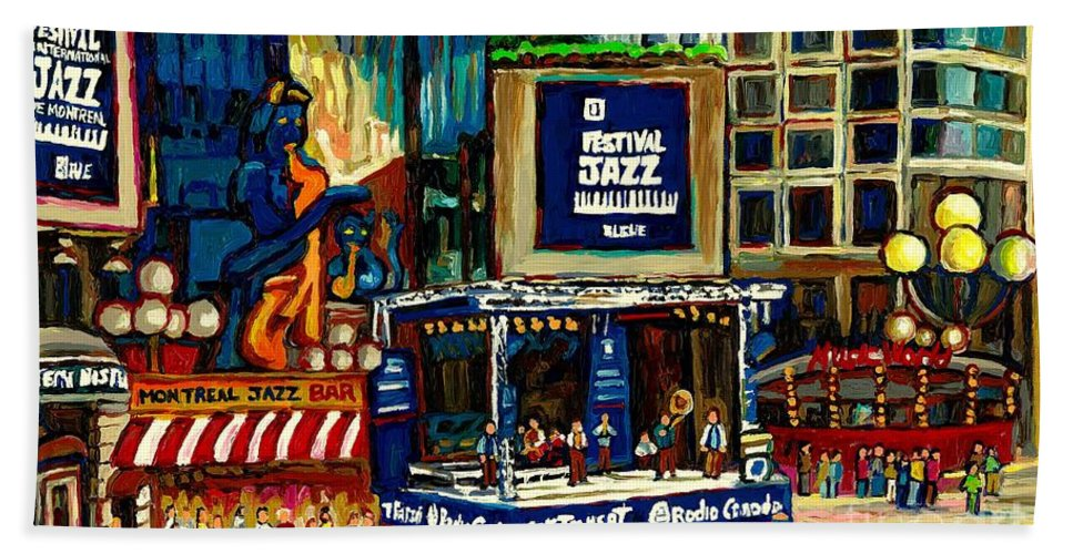 Montreal Bath Towel featuring the painting Montreal Jazz Festival Arcade by Carole Spandau