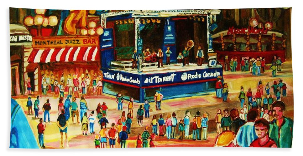 Montreal Hand Towel featuring the painting Montreal Jazz Festival by Carole Spandau