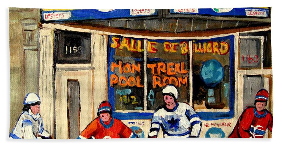 Montreal Hand Towel featuring the painting Montreal Poolroom Hockey Fans by Carole Spandau