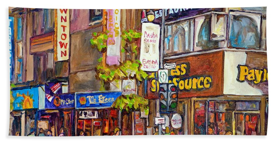 Montreal Bath Towel featuring the painting Montreal St.catherine Street Corner Peel by Carole Spandau