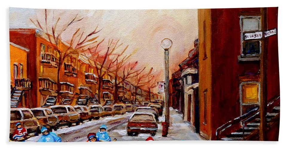 Montreal Streetscene Hand Towel featuring the painting Montreal Street Hockey Game by Carole Spandau