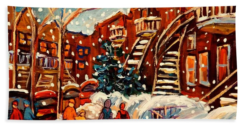 Montreal Bath Sheet featuring the painting Montreal Street In Winter by Carole Spandau