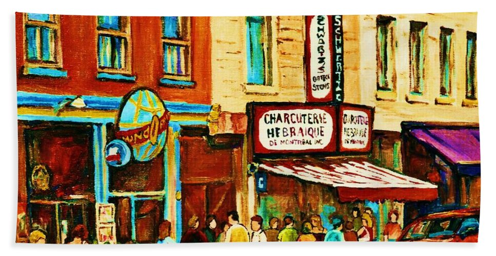 Montreal Bath Towel featuring the painting Montreal Streetscene Artist Carole Spandau Paints Schwartzs Main Street Hustle Bustle by Carole Spandau