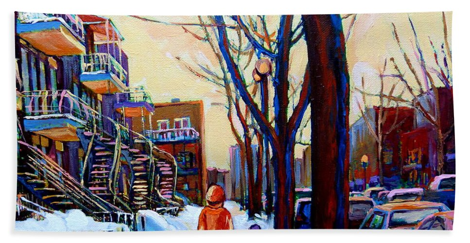 Montreal Bath Towel featuring the painting Montreal Winter by Carole Spandau