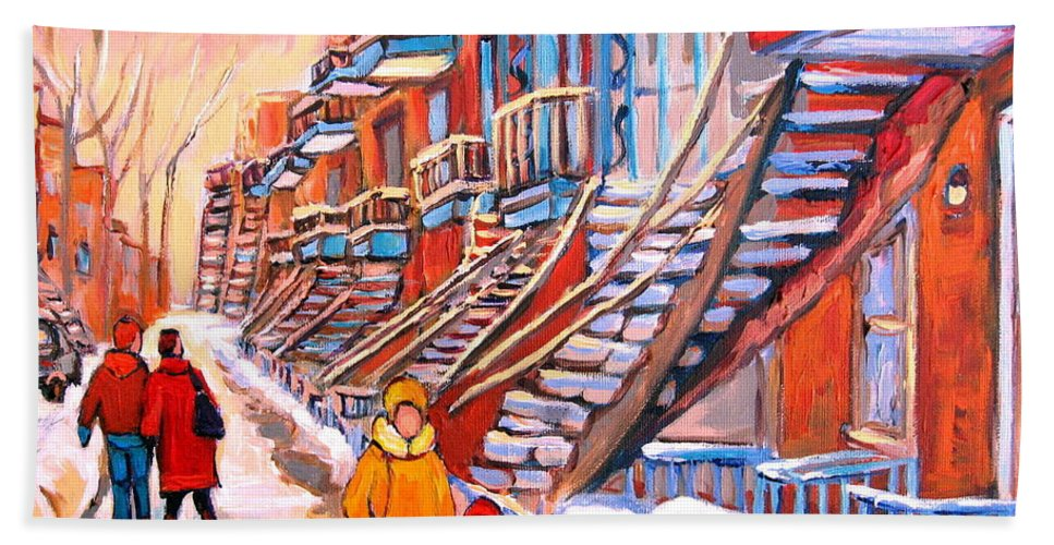 Montreal Bath Towel featuring the painting Montreal Winter Walk by Carole Spandau