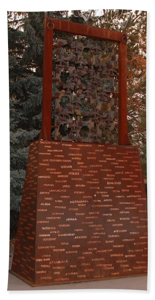 Monument Hand Towel featuring the photograph Monument At N M State Captial by Rob Hans