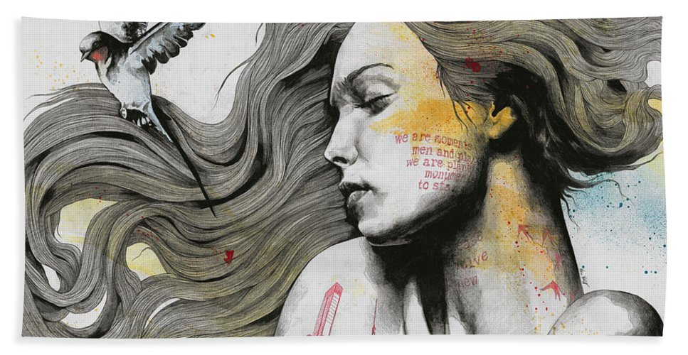 Skyline Bath Towel featuring the drawing Monument - Long Hair Girl With Bird And Skyline Tattoo by Marco Paludet
