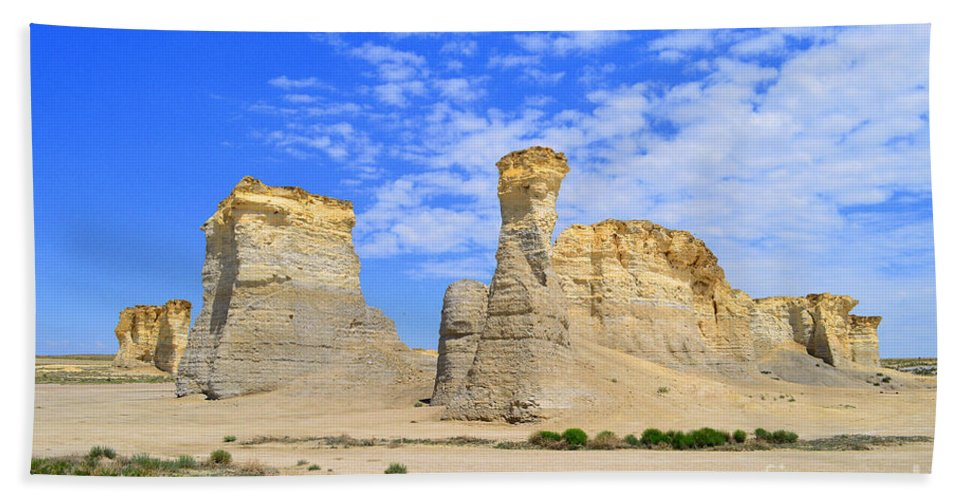Monument Rocks Hand Towel featuring the photograph Monument Rocks In Kansas 2 by Catherine Sherman