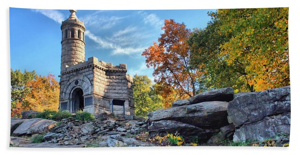 Gettysburg Bath Sheet featuring the photograph Monument To The 44th by DJ Florek